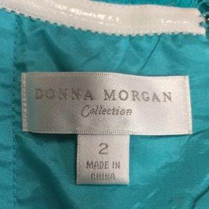 Donna Morgan Dresses - Aqua lace covered long straight dress